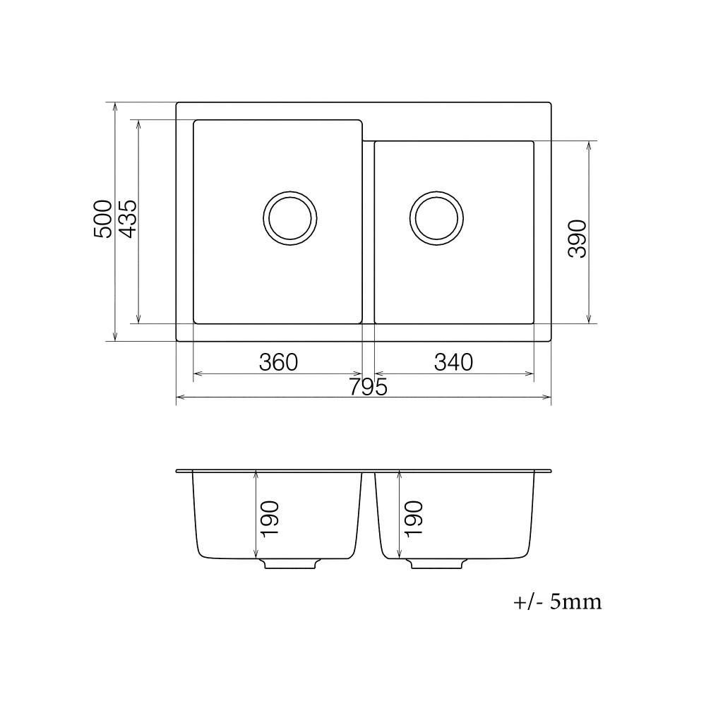 Кухонна мийка VANKOR Orman OMP 05.80 Black + сифон VANKOR