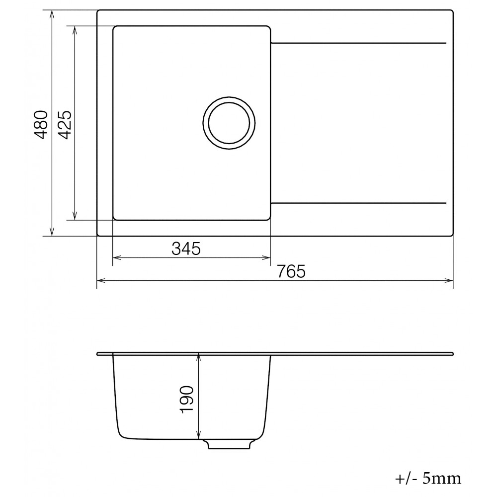 Кухонна мийка VANKOR Orman OMP 02.78 Black + сифон VANKOR