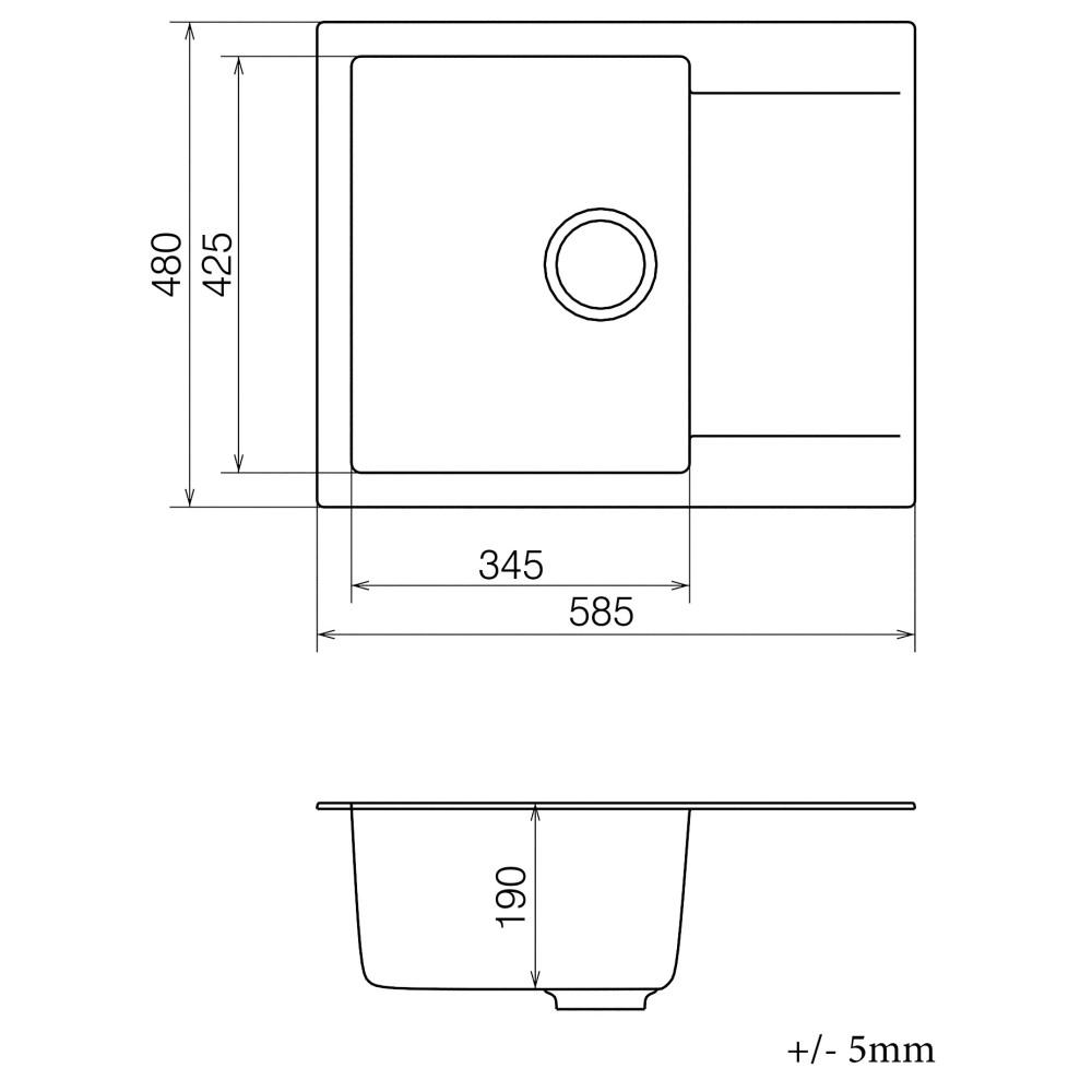 Кухонна мийка VANKOR Orman OMP 02.61 Black + сифон VANKOR