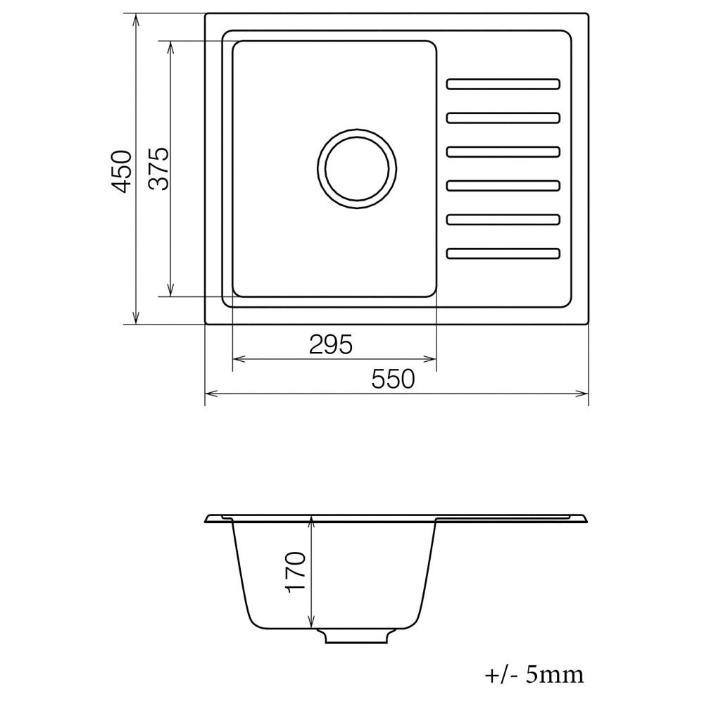 Кухонна мийка VANKOR Lira LMP 02.55 Black + сифон VANKOR