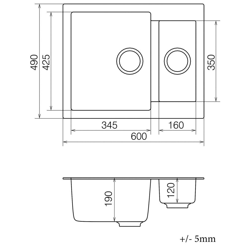 Кухонна мийка VANKOR Orman OMP 03.61 Black + сифон VANKOR