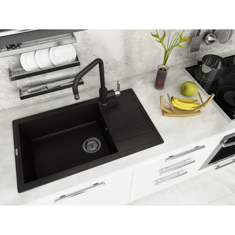 Кухонна мийка VANKOR Easy EMP 02.76 XL Black + сифон VANKOR