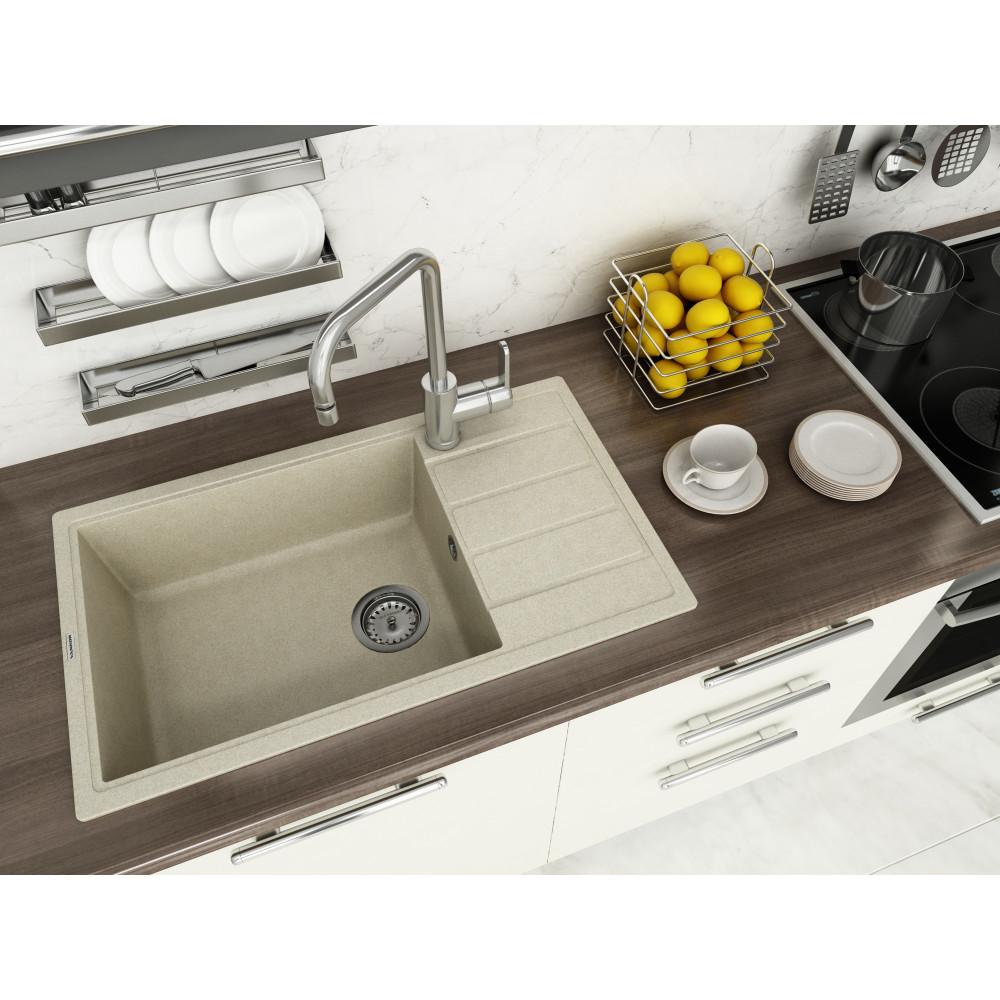 Кухонна мийка VANKOR Easy EMP 02.76 XL Beige + сифон VANKOR