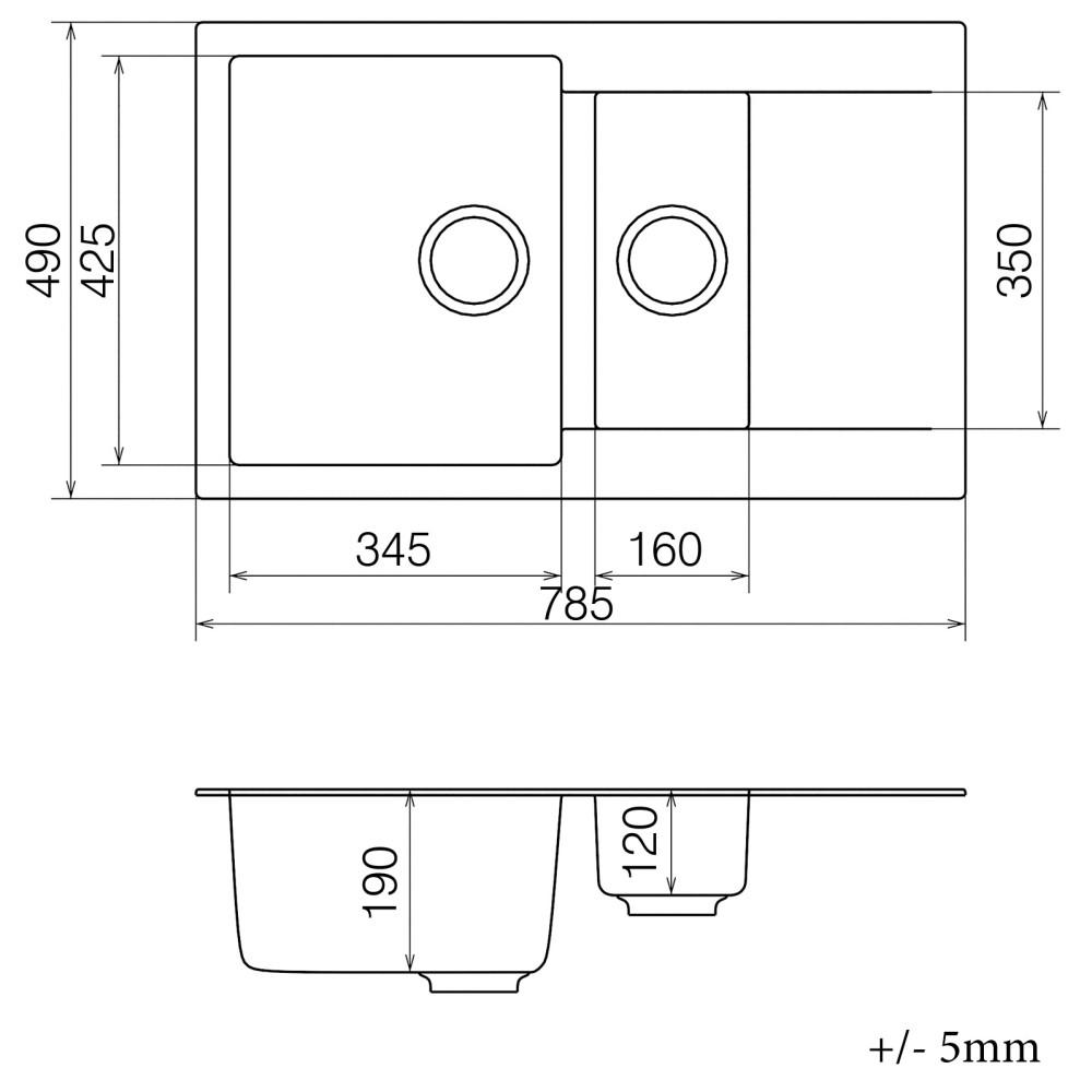 Кухонна мийка VANKOR Orman OMP 04.80 Beige + сифон VANKOR